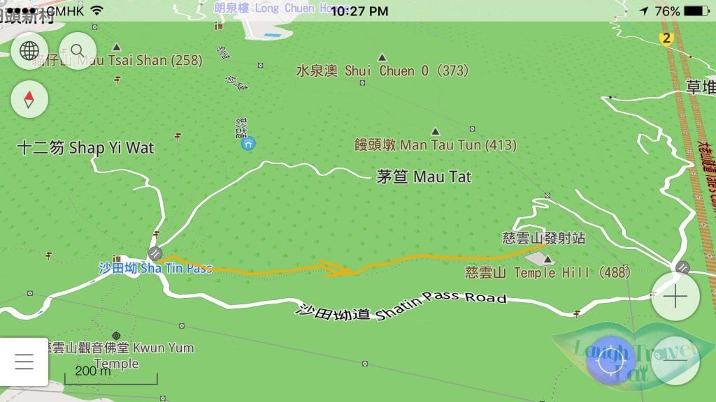 A screen capture of the route (mark in orange) from Shatin Pass to Tsz Wan Shan (from OSMAnd) | Laugh Travel Eat