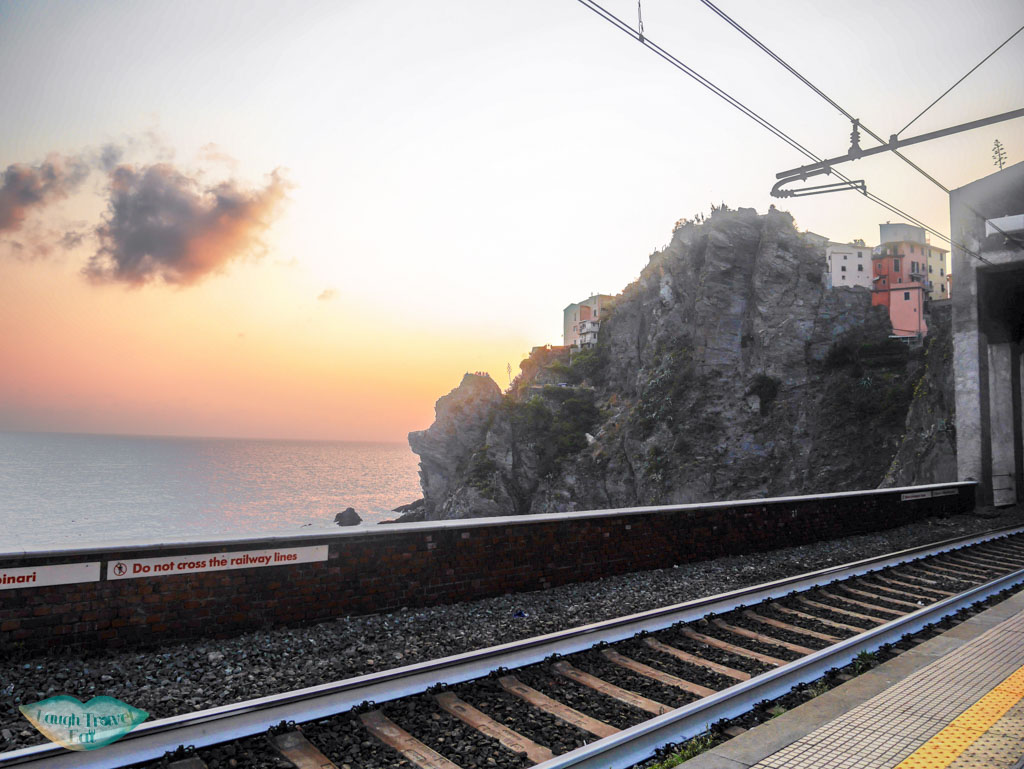 sunset at cinque terre rail station liguria italy | Laugh Travel Eat
