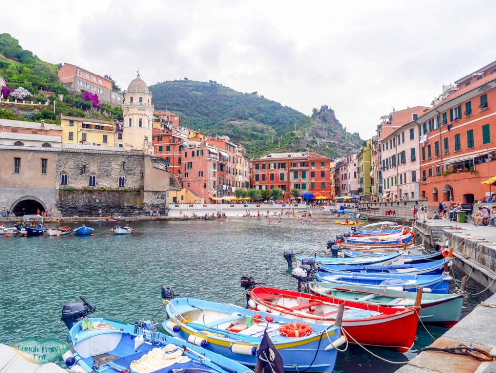 vernazza view from the port cinque terre italy | Laugh Travel Eat