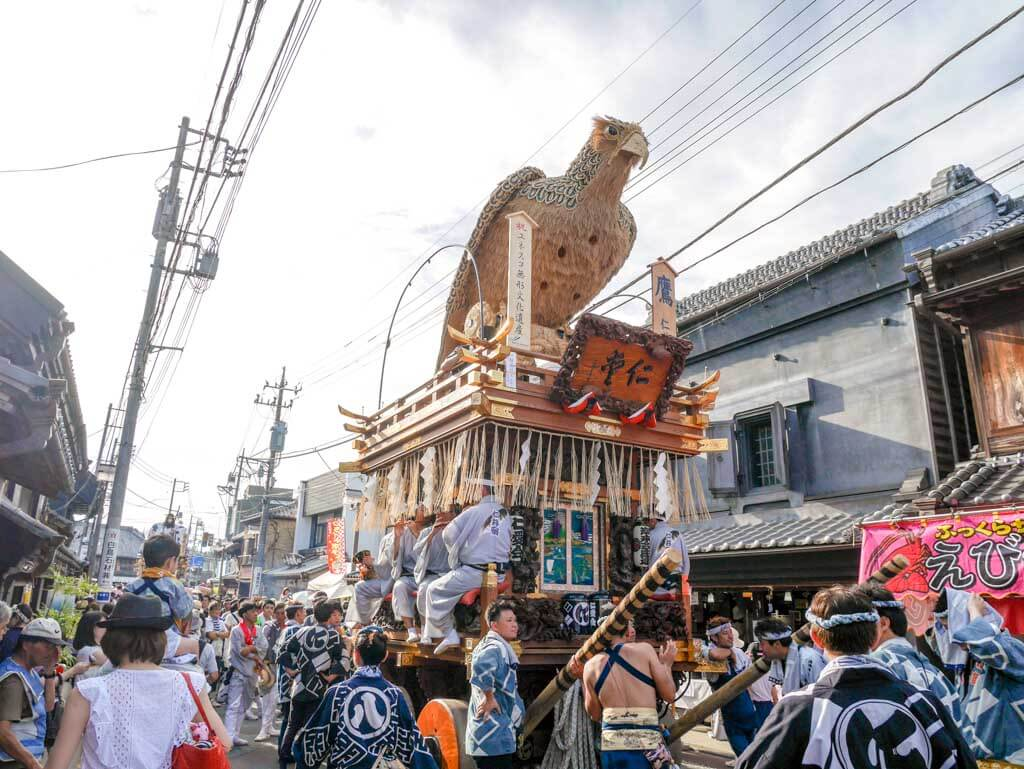 eagle float at grand sawara festival chita japan