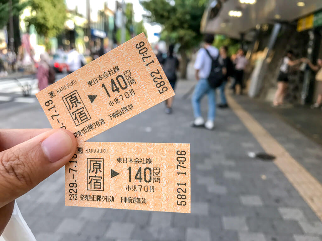 Single ticket purchased at Harajuku station, Tokyo, Japan | Laugh Travel Eat