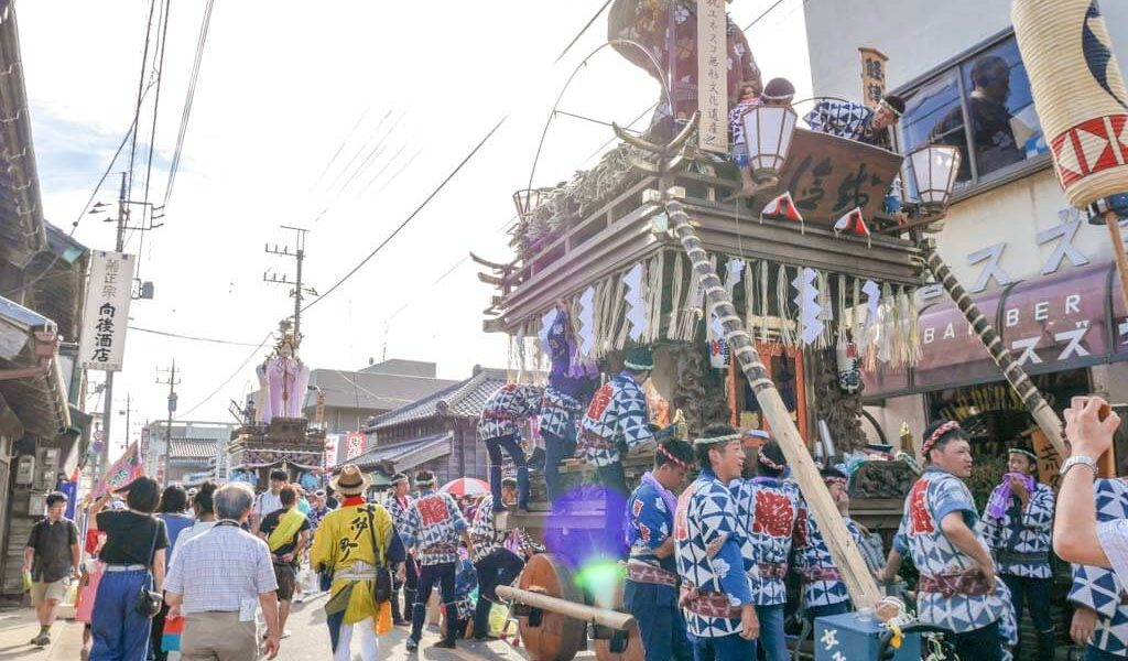 man float at grand sawara festival chita japan