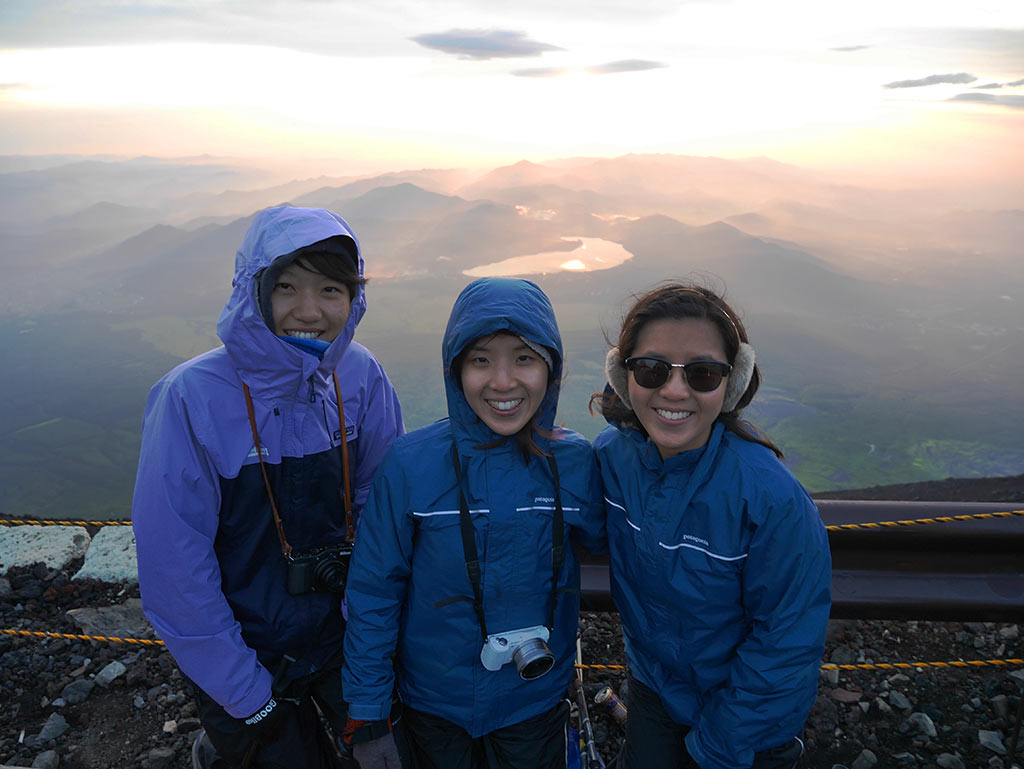 Group shot in front of the sunrise, Mount Fuji, Japan } Laugh Travel Eat