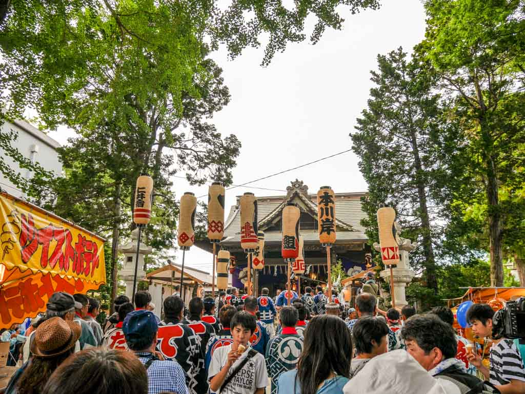 prayers at the temple at grand sawara festival chita japan