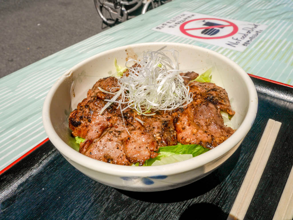 tsukiji fish market seared tuna cheek tokyo, Japan | Laugh Travel Eat