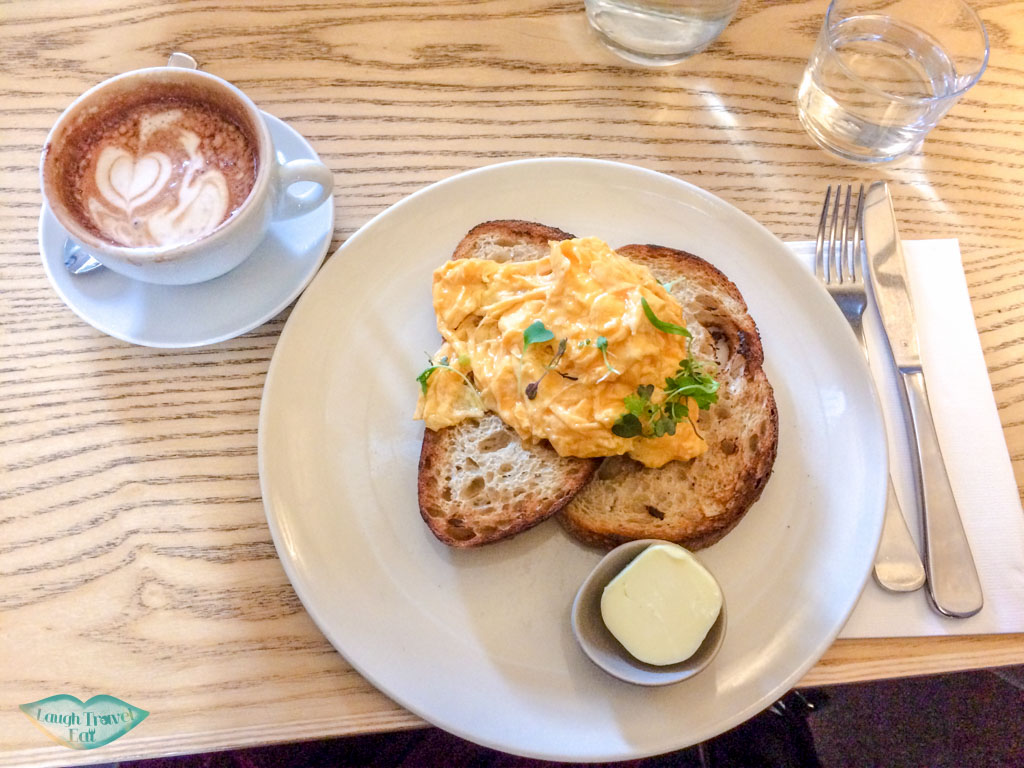 Scramble egg on toast and mocha, Higher Ground, Melbourne CBD, Australia