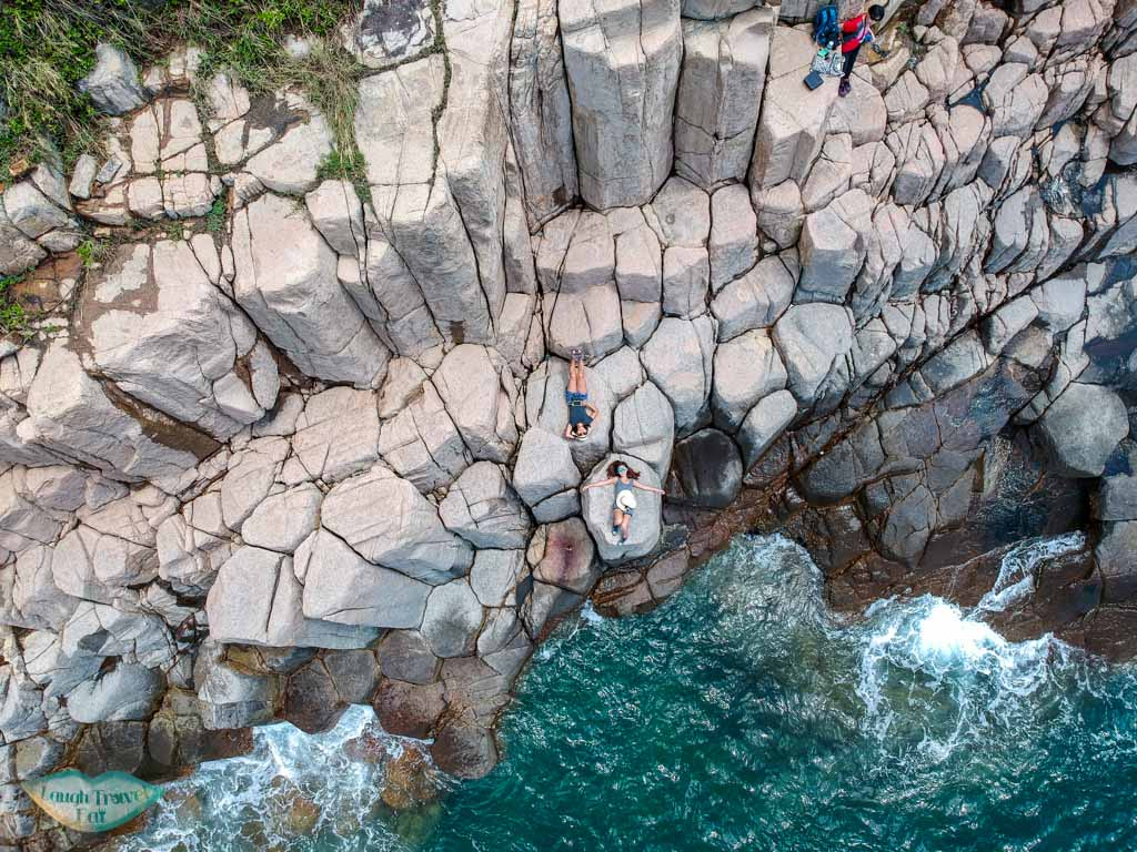 birds eye view hexagonal columns north ninepin island sai kung hong kong - Laugh Travel Eat