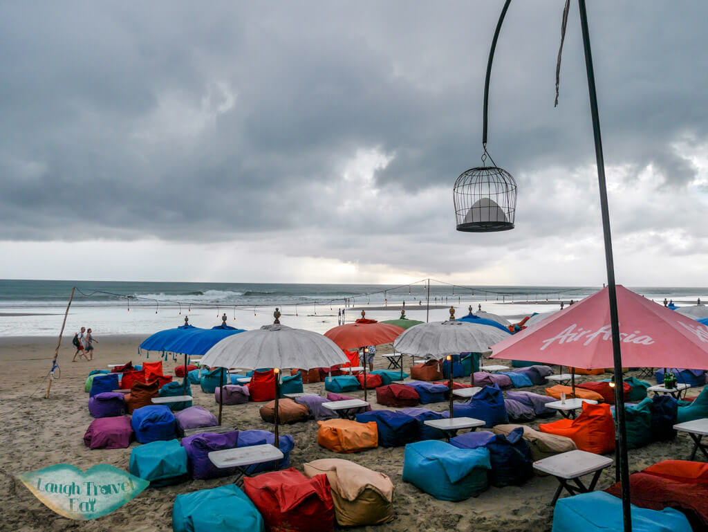 beach bean bags double six beach seminyak bali indonesia - laugh travel eat