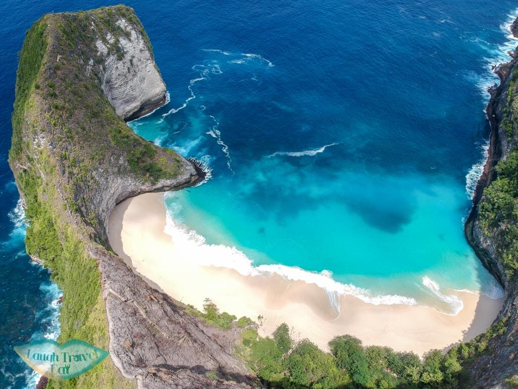 drone shot of Kelingking beach Nusa Penida Bali Indonesia - Laugh Travel Eat