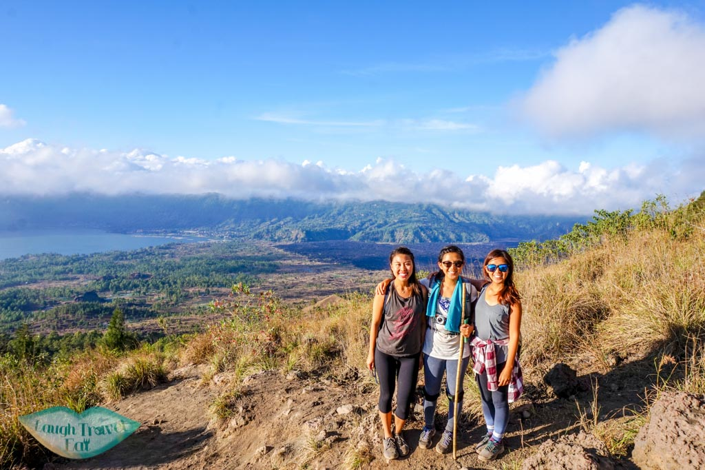 group photo on mount batur bali indonesia - laugh travel eat