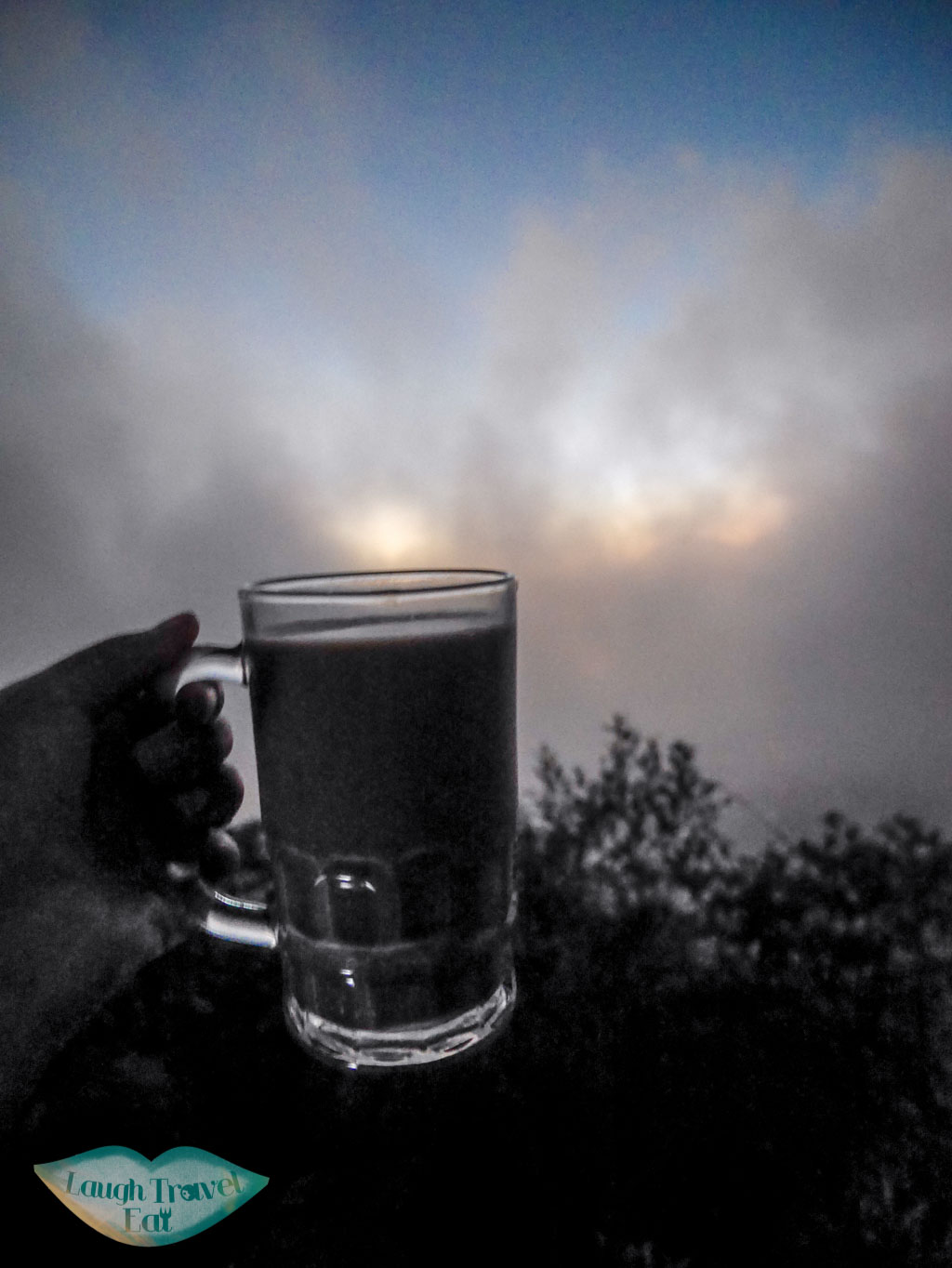hot chocolate at the top of Mount Batur bali indonesia - laugh travel eat