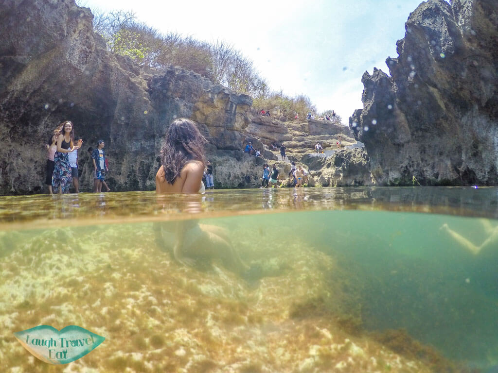 split screen me at angels billabong Nusa Penida Bali Indonesia - Laugh Travel Eat