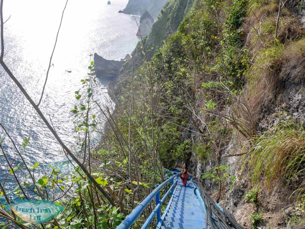 staircase down to Peguyangan waterfall Nusa Penida Bali Indonesia - Laugh Travel Eat