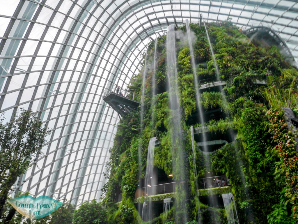 cloud mountain waterfall in twilight gardens by the bay singapore - laugh travel eat
