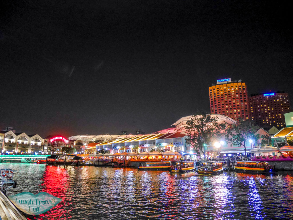 lights in clarke quay singapore - laugh travel eat