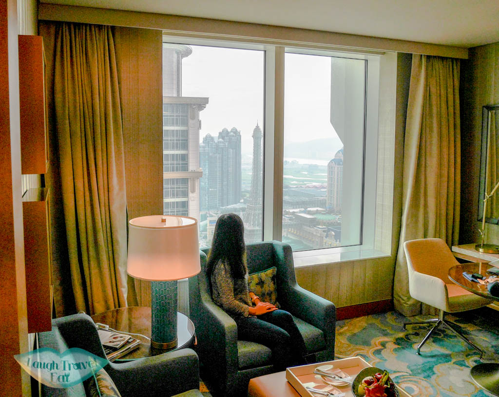 me looking out at st regis hotel room macau