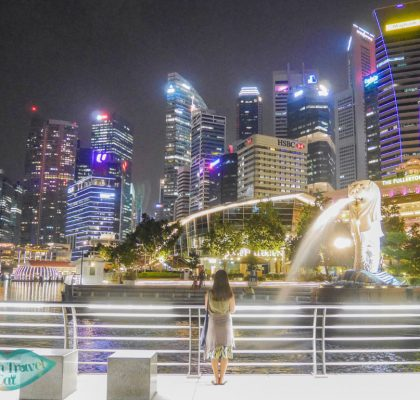 merlion park at night singapore - laugh travel eat