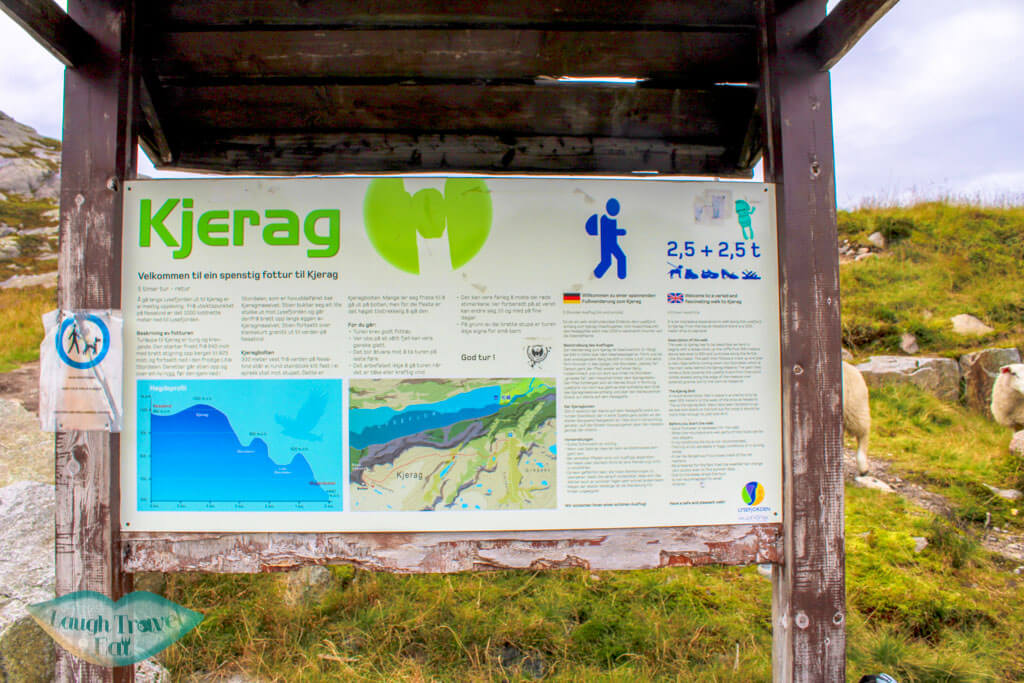 Sign for the start of the kjeragbolten hike norway europe | Laugh Travel Eat