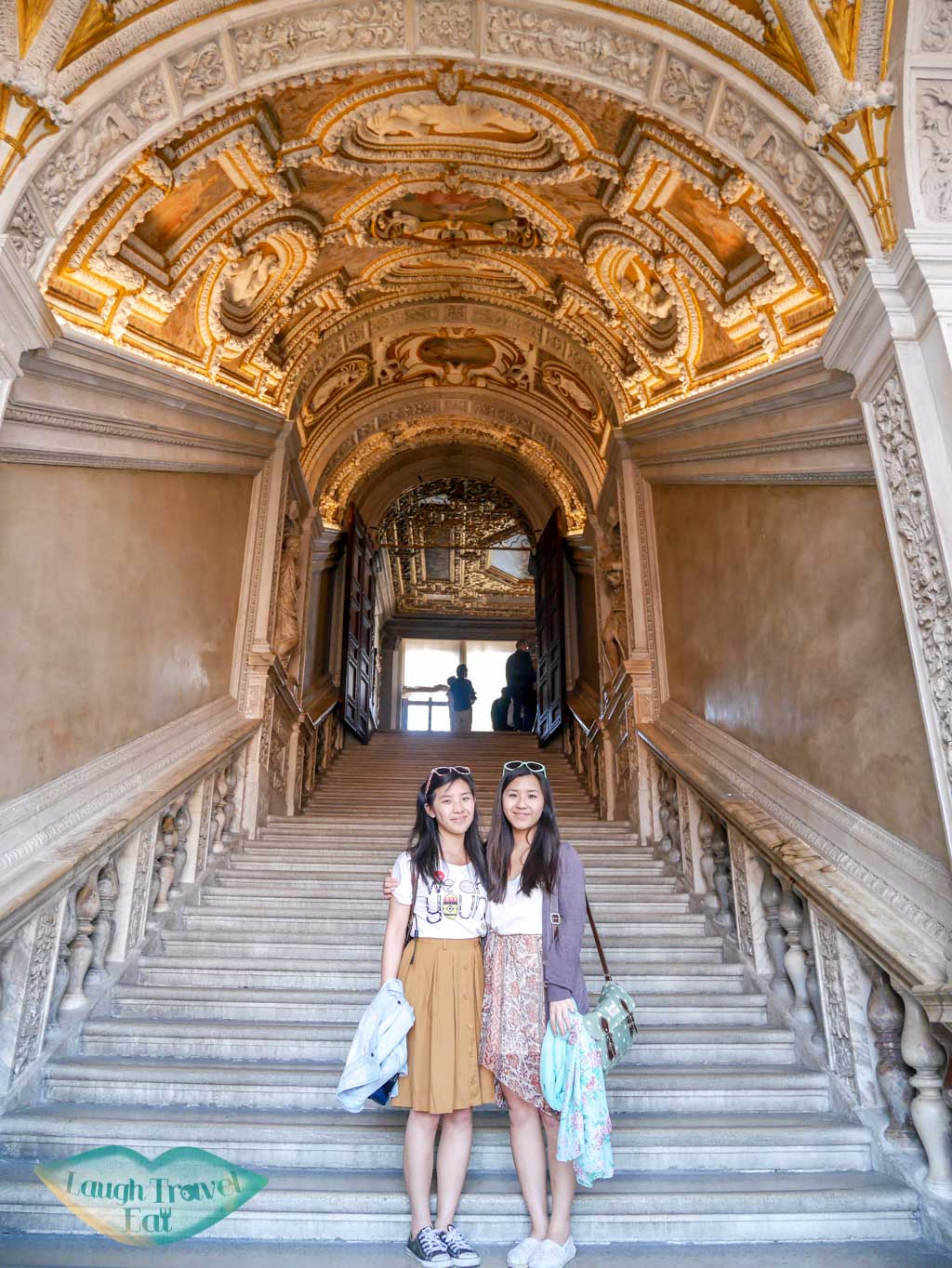 me and wing in dodge palace venice italy - laugh travel eat