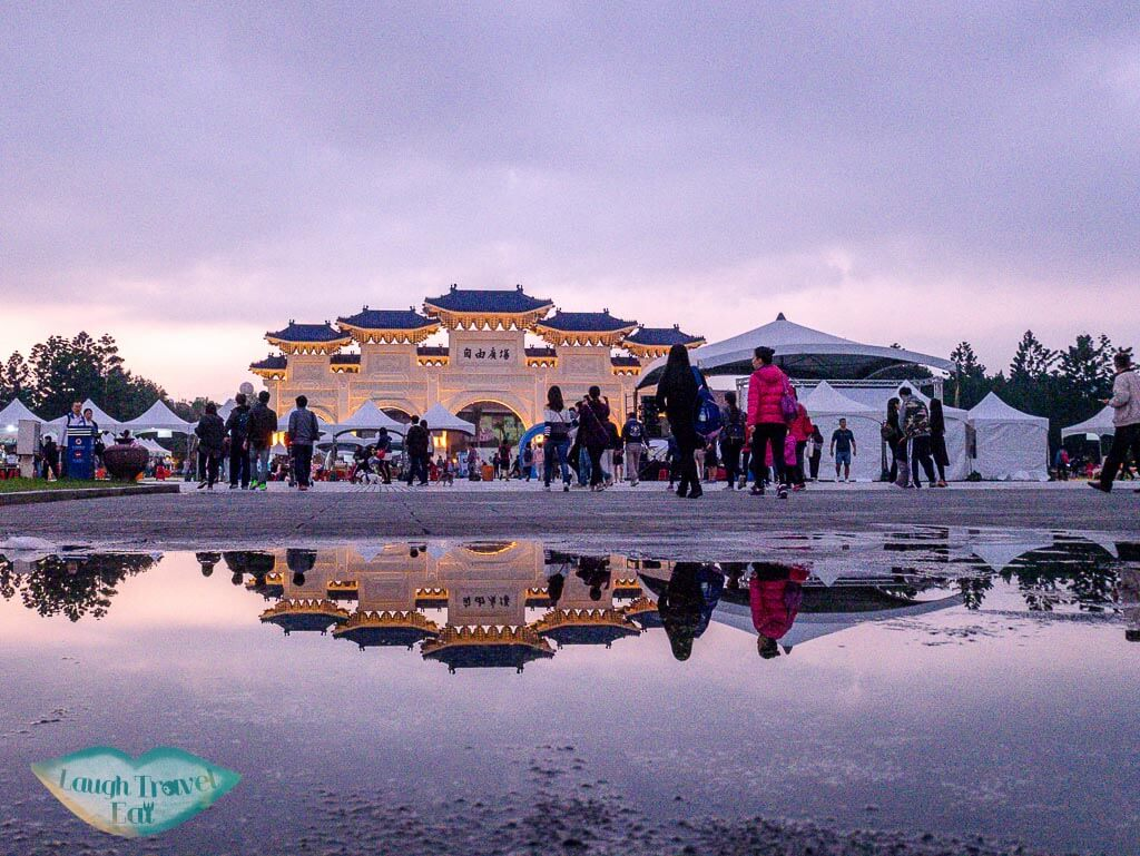 sunset at freedom square taipei taiwan - laugh travel eat