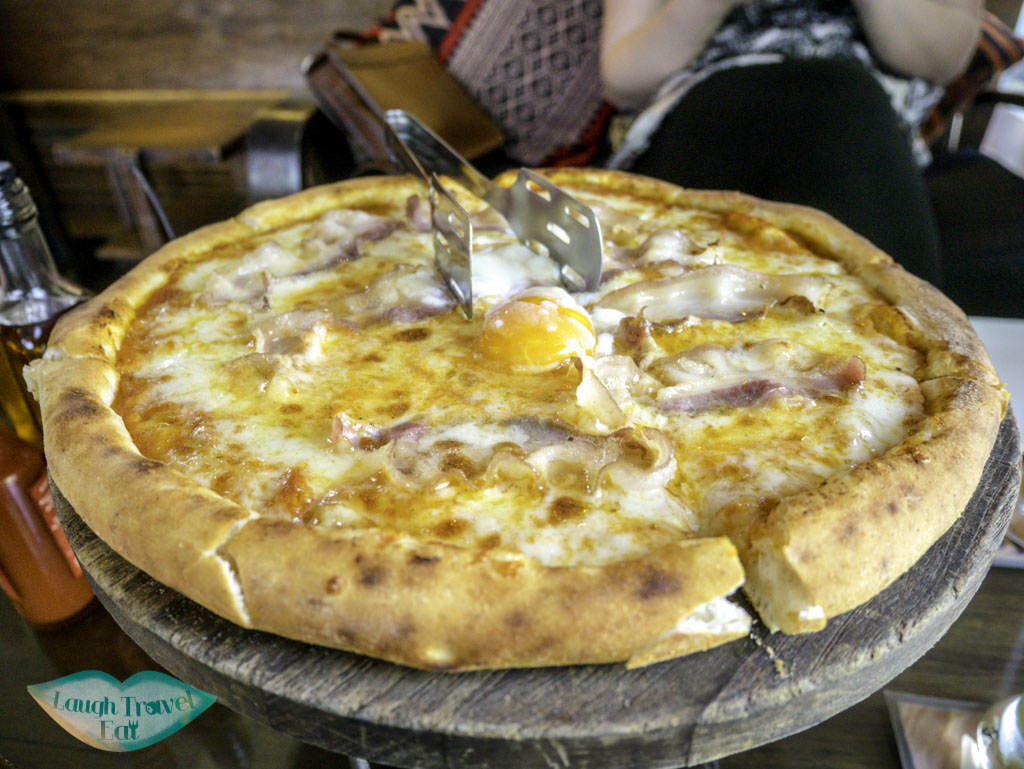 breakfast pizza at sharky's yangon myanmar - laugh travel eat