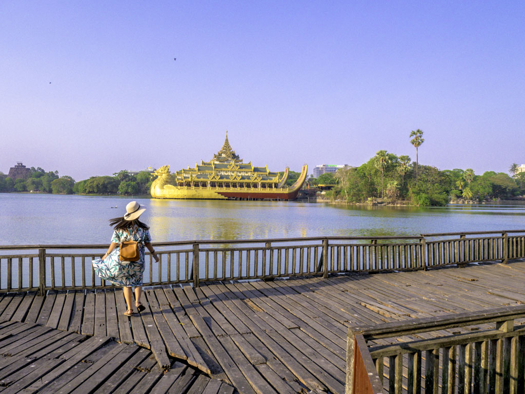 broad walk facing palace on Kandwagyi lake yangon myanmar - laugh travel eat