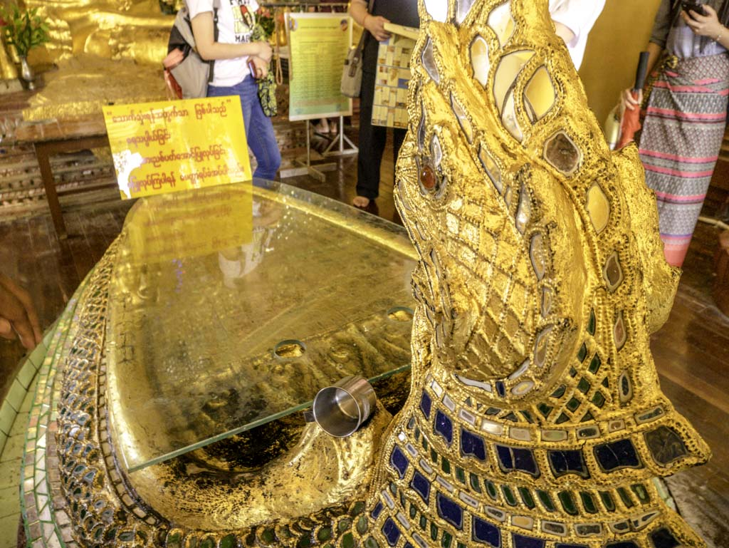 buddha's foot print replica in shwedagon pagoda yangon myanmar - laugh travel eat