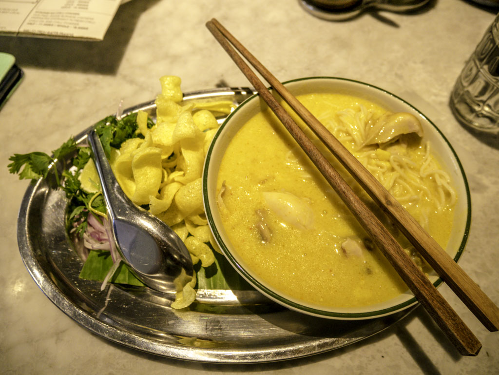 coconut chicken noodle rangoon tea house yangon myanmar - laugh travel eat
