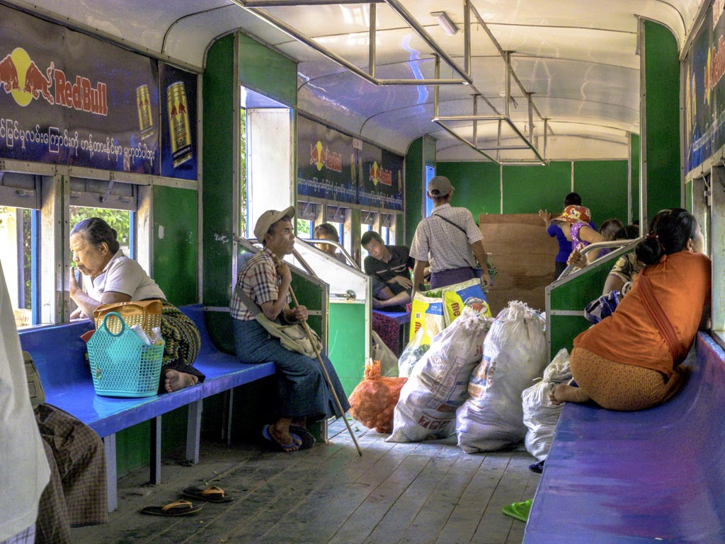 inside circle train yangon myanmar - laugh travel eat