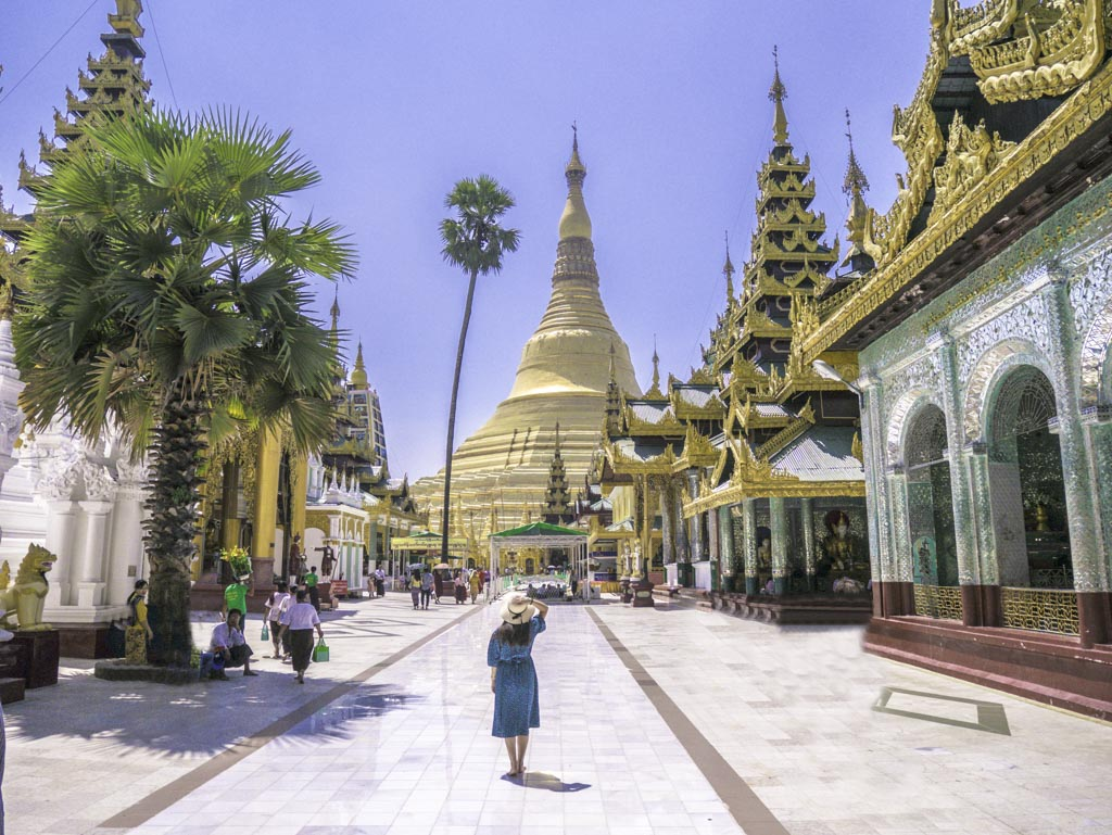 me at shwedagon pagoda yangon myanmar - laugh travel eat