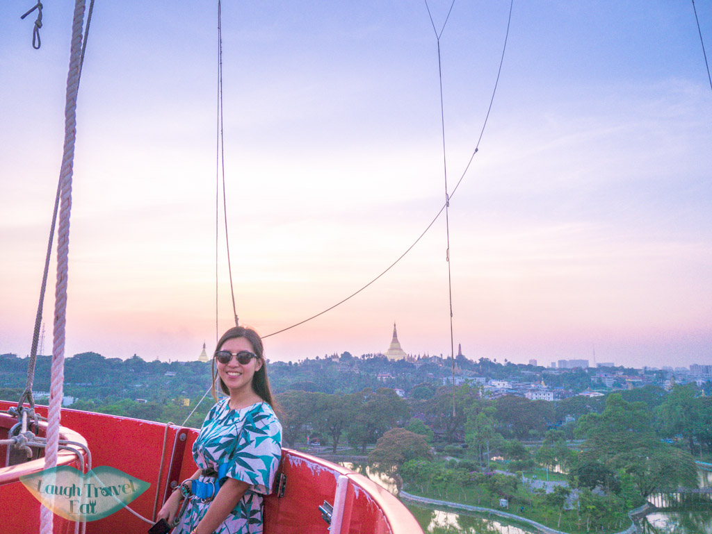 me on mingalarbar balloon during sunset yangon myanmar - laugh travel eat