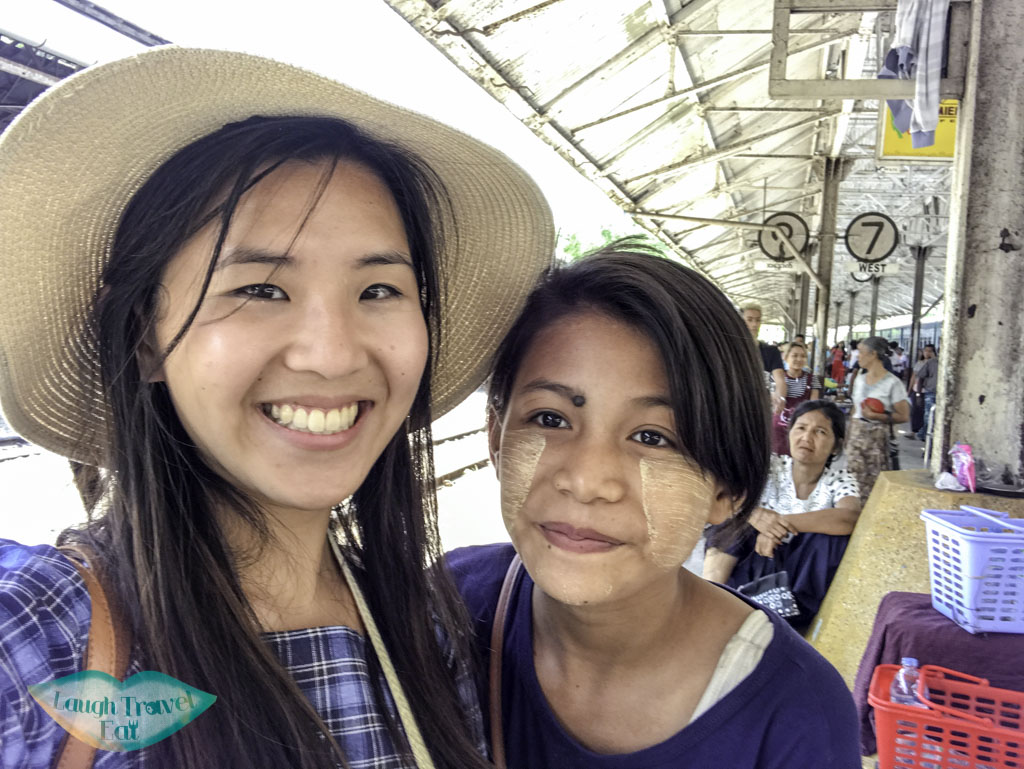 selfie with kind girl at circular train yangon myanmar - laugh travel eat