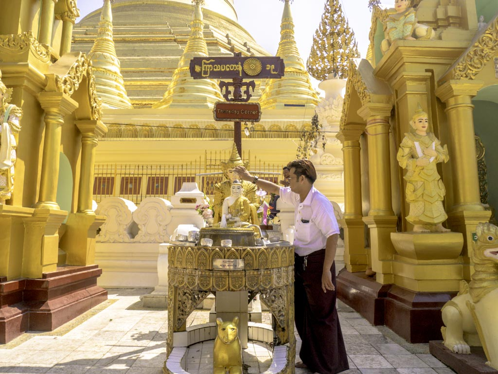 thursday corner in shwedagon pagoda yangon myanmar - laugh travel eat