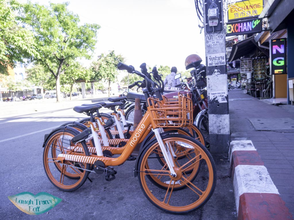 Mobike-parked-by-side-of-the-street-Chiang-Mai-Thailand-Laugh-Travel-Eat