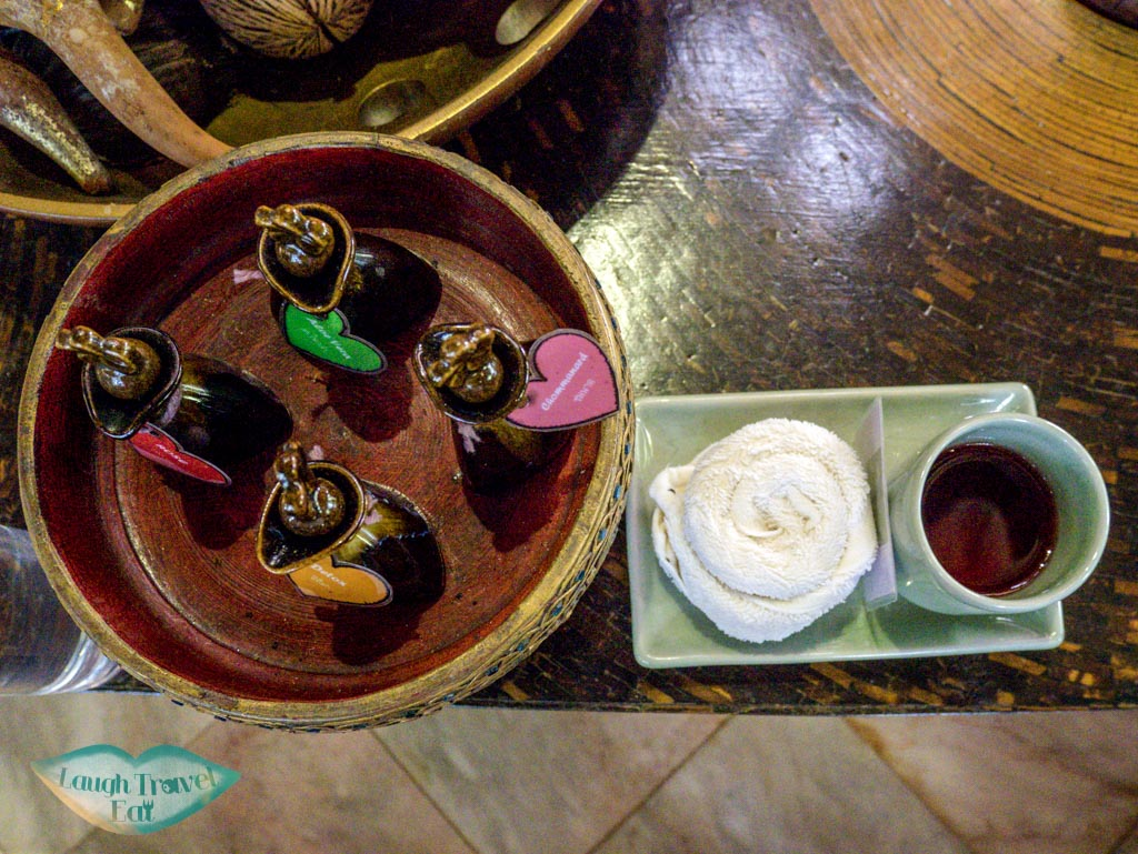 choice-of-oil-at-spa-at-Panviman-Spa-Chiang-Mai-Thailand-laugh-travel-eat