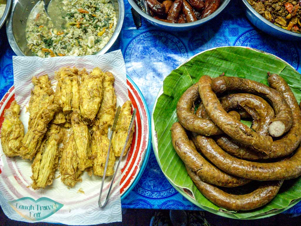 fried bamboo and pork sausage at local market