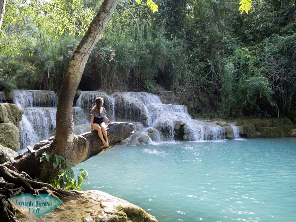 main swimming pool kuang si waterfall luang prabang laos - laugh travel eat