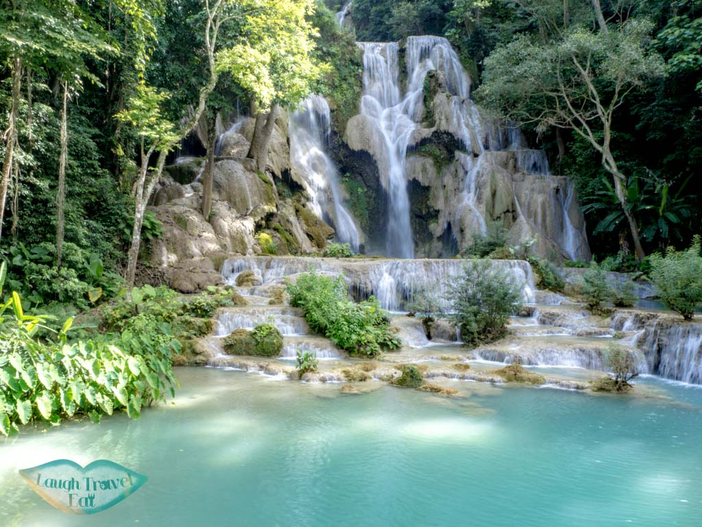 main waterfall kuang si waterfall luang prabang laos - laugh travel eat