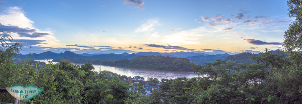 sunset panorama of mekong river from phousi mountain luang prabang laos - laugh travel eat