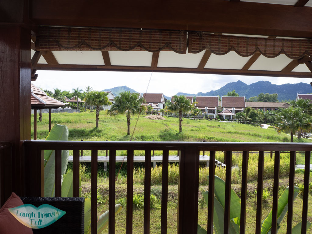 balcony overlooking the rice paddies pullman luang prabang laos - laugh travel eat