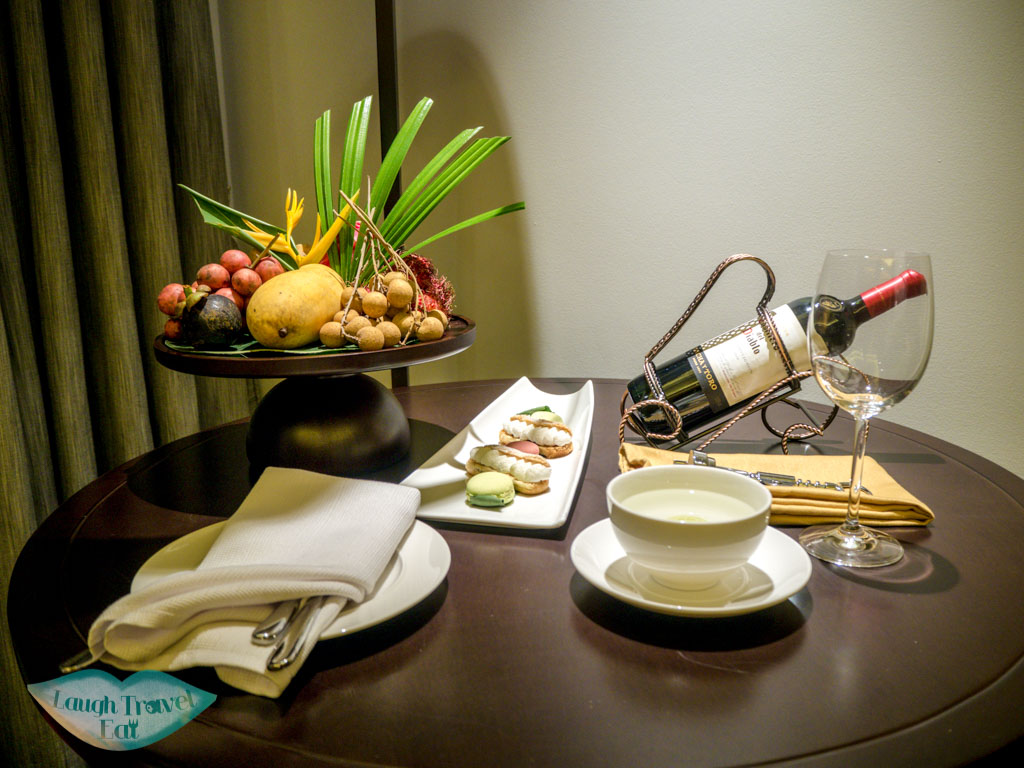 welcome platter deluxe room pullman luang prabang laos - laugh travel eat