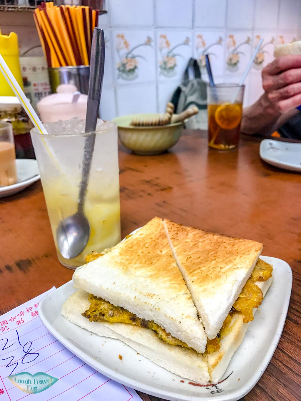 beef egg sandwich and pineapple ice Sun Heung Yuen sham shui po hong kong - laugh travel eat