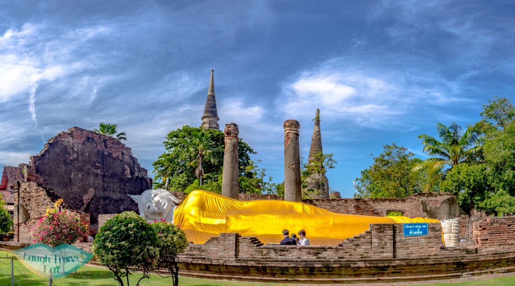 reclining-buddha-Wat-Yai-Chai-Mongkhon-Ayutthaya-thailand-laugh-travel-eat