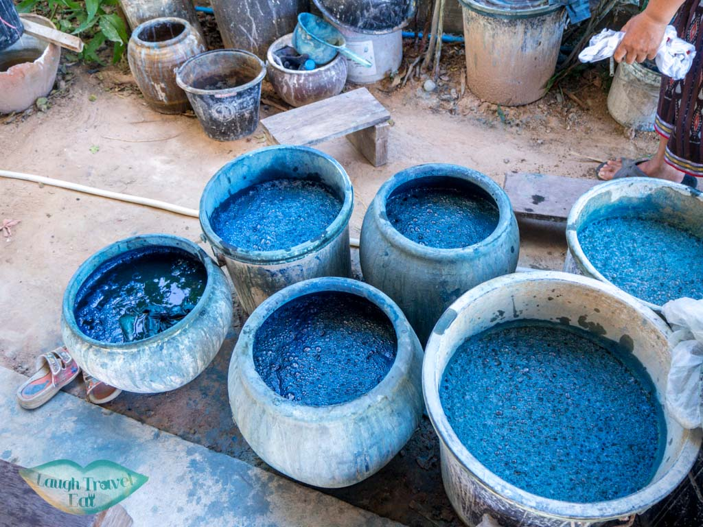 pots-of-indigo-dye-Ban-Nong-San-sakon-nakhon-thailand-laugh-travel-eat