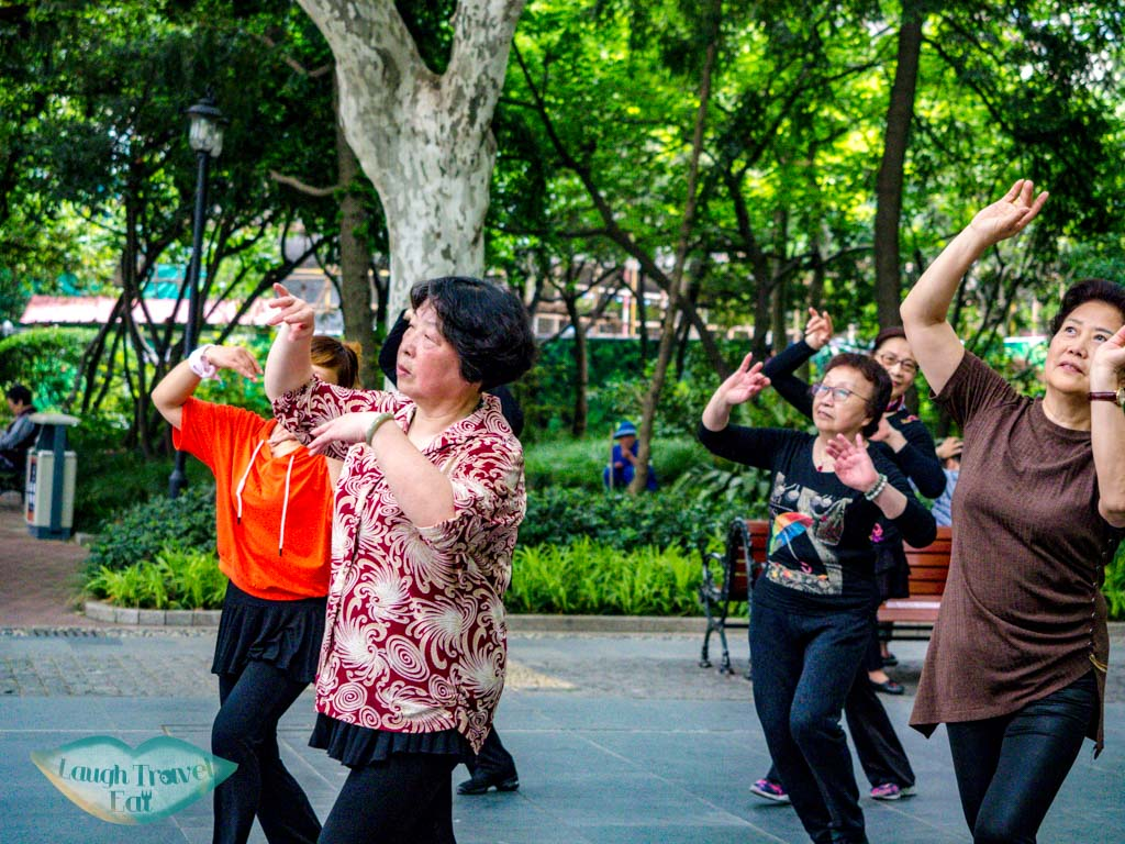 morning exercise at fuxing park shanghai china