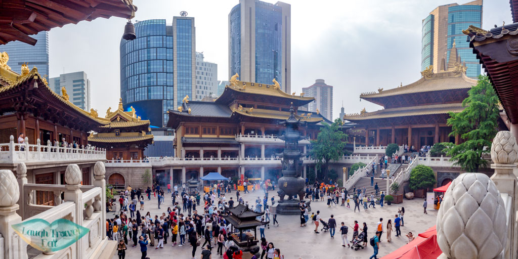 panorama of jing'an temple shanghai china