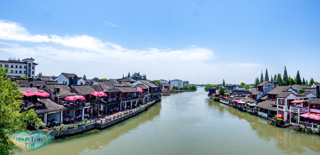 panorama of zhujiajiao from central bridge shanghai