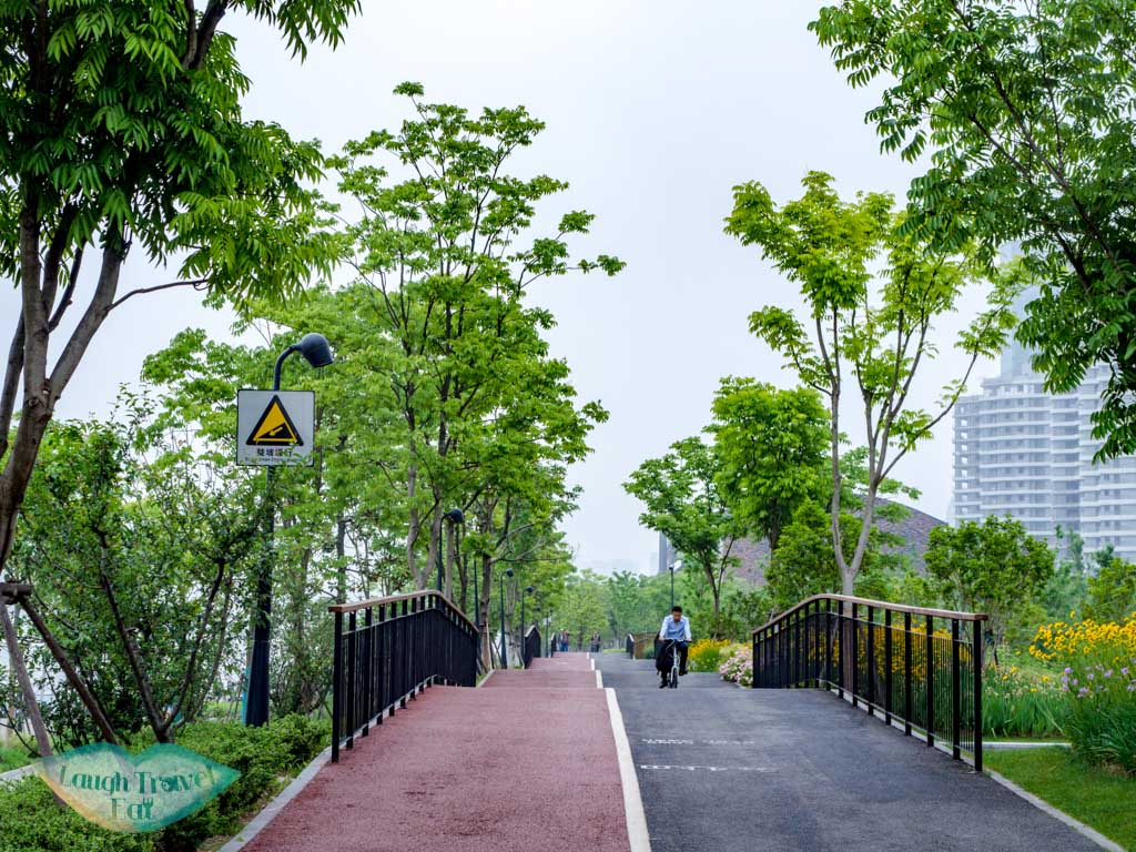 cycling path Binjiang Avenue pudong shanghai china - laugh travel eat