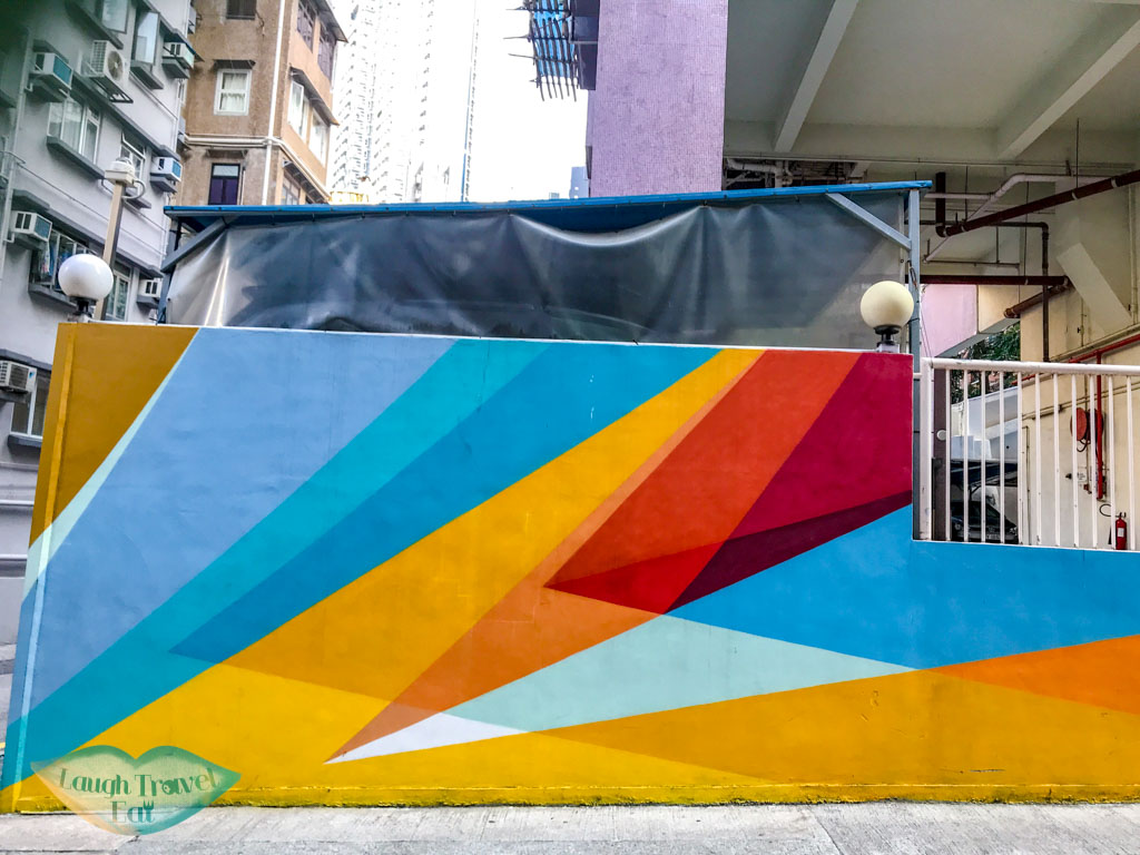 geometric wall Sheung Wan Hong Kong - laugh travel eat