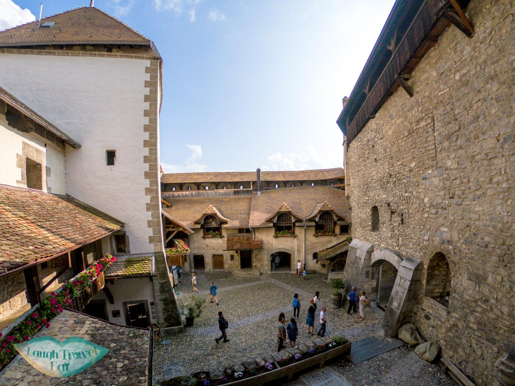 courtyard Chillon Castle switzerland - laugh travel eat